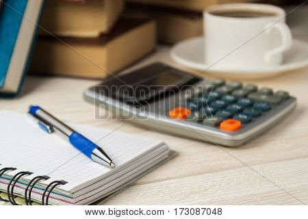 Workplace accountant. Work at the table. accountant