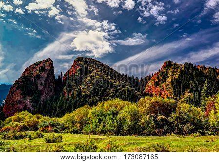 Panorama view to Jeti-Oguz aka Seven Bulls canyon Kyrgyzstan