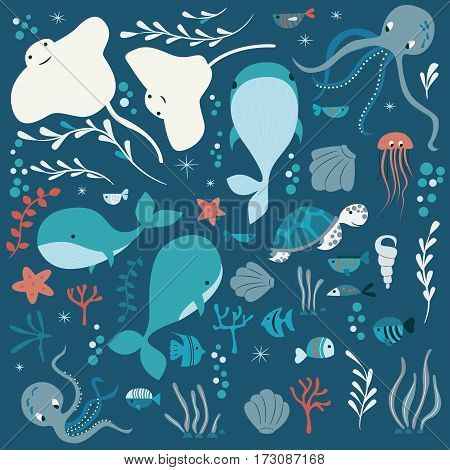 Collection of colorful sea and ocean animals whale octopus stingray jellyfish turtle coral vector illustration
