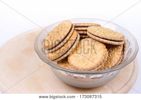 Chocolate Biscuits In The Crystal Bowl