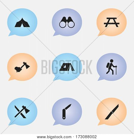 Set Of 9 Editable Travel Icons. Includes Symbols Such As Gait, Field Glasses, Tomahawk And More. Can Be Used For Web, Mobile, UI And Infographic Design.