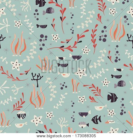 Seamless pattern with underwater ocean animals cute fish and plants colorful vector illustration