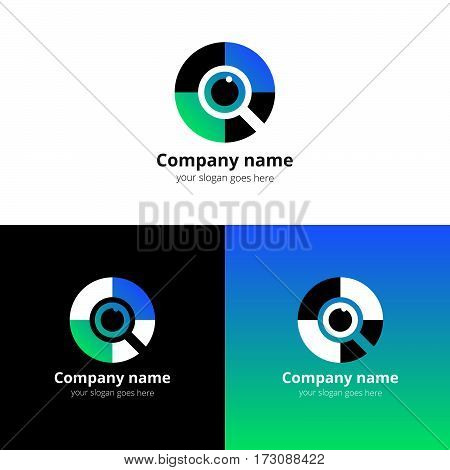 Eye search, quest, scan Logo design vector template. Colorful flat find media icon symbol. Creative Vision Logotype concept. Colorful Eye with blue-green gradient color logo vision.