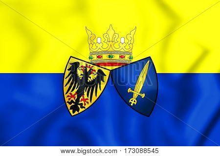 Flag of Essen Germany. 3D Illustration. Close up.