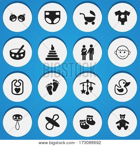 Set Of 16 Editable Baby Icons. Includes Symbols Such As Rattle, Tower, Pinafore And More. Can Be Used For Web, Mobile, UI And Infographic Design.