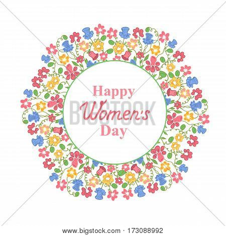 Happy Women's Day. March 8. Multicolour floral wreath. Concept design for a holiday sale, greeting cards, stickers, invitations.