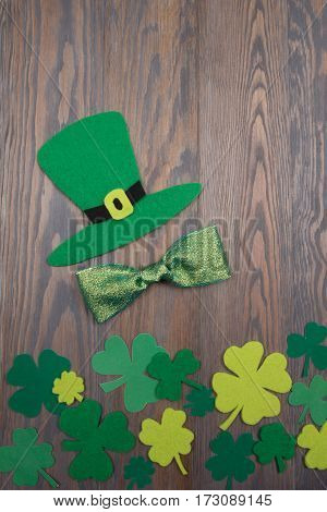 Handmade Saint Patrick Hat, Green Shiny Bow And Clover Leaves