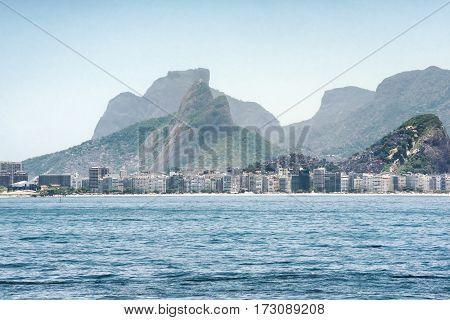 View toward Copacabana beach and the mountainous landscape in Rio de Janeiro Brazil