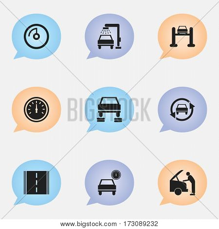 Set Of 9 Editable Car Icons. Includes Symbols Such As Auto Repair, Automobile, Car Fixing And More. Can Be Used For Web, Mobile, UI And Infographic Design.