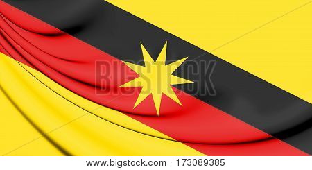 Flag of Sarawak Malaysia. 3D Illustration. Close up.