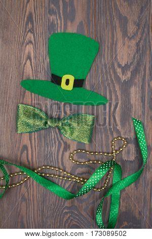 Green Hat, Bow, Gold Beads And Satin Ribbon. Patricks Day