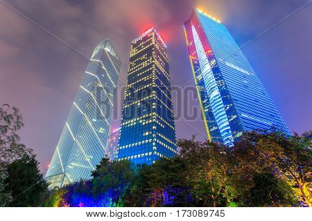 GUANGZHOU CHINA - DECEMBER 11 2016 : Guangzhou City night view and Central business building at dust on Dec. 11 2016