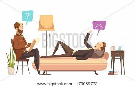 Psychotherapy session in therapist office with patient on sofa talking about his feelings retro cartoon vector illustration