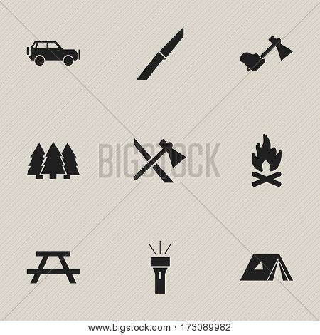 Set Of 9 Editable Camping Icons. Includes Symbols Such As Ax, Shelter, Pine And More. Can Be Used For Web, Mobile, UI And Infographic Design.