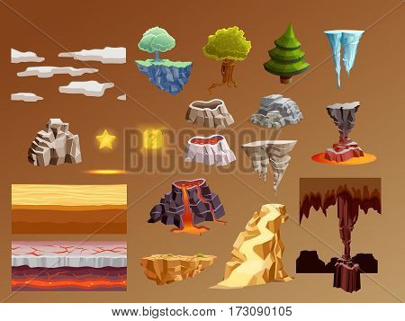 Computer games 3d bright glowing elements collection with golden lava volcano eruption caramel brown background vector illustration