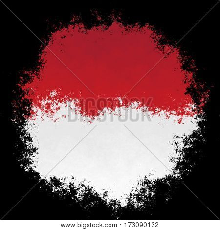 Color spray stylized flag of indonesia on white background