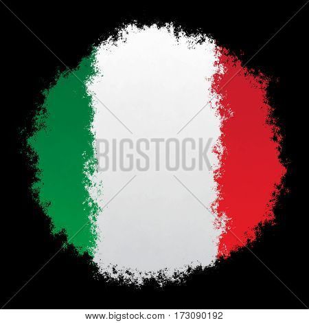 Color spray stylized flag of Italy on black background