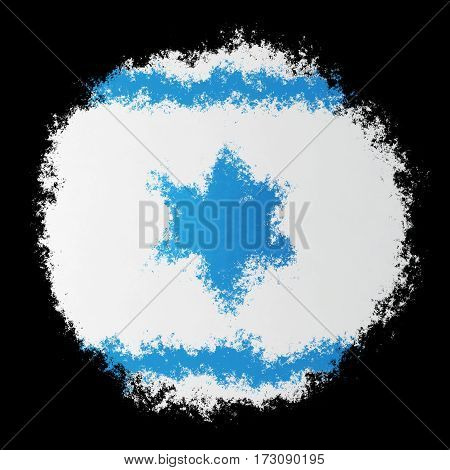 Color spray stylized flag of Israel on black background