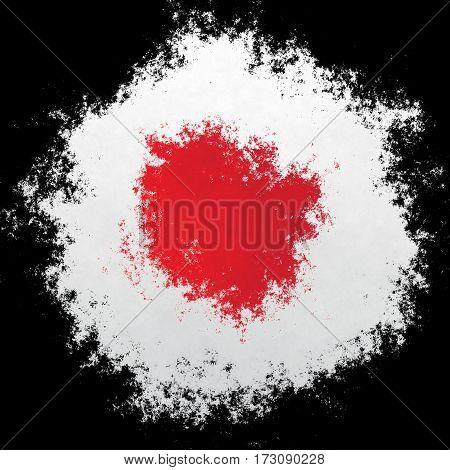 Color spray stylized flag of Japan on black background