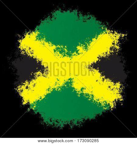 Color spray stylized flag of Jamaica on black background