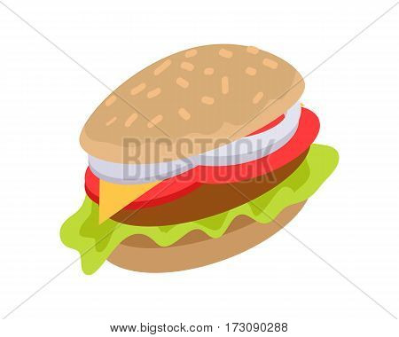Hamburger icon in flat. Burger with meat, cheese, lettuce and tomato. Burger or sandwich, fast food. Consumption of high calories nourishment fast food. Meal and snack burger on white background