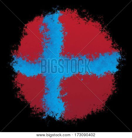 Color spray stylized flag of Norway on black background