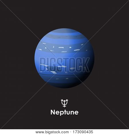 Vector Neptune on dark background with symbol