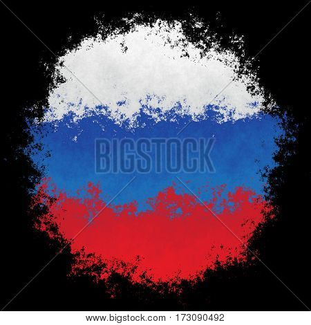 Color spray stylized flag of Russia on black background