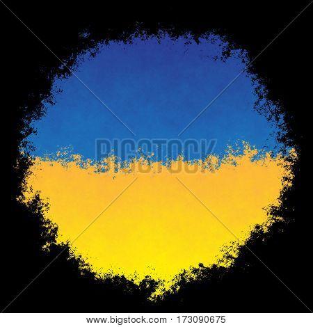 Color spray stylized flag of Ukraine on black background