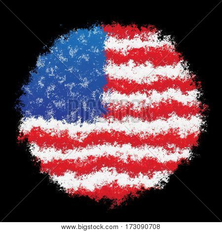 Color spray stylized flag of USA on black background