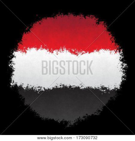 Color spray stylized flag of Yemen on black background