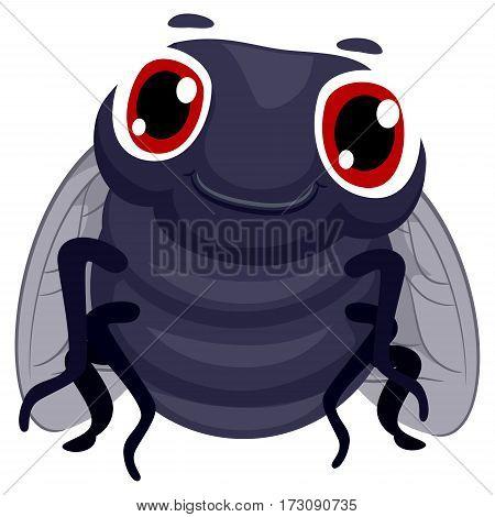 Vector Illustration of a Black Fly Cartoon