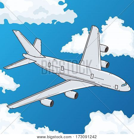 Airplane flying in the blue sky. Vector illustration