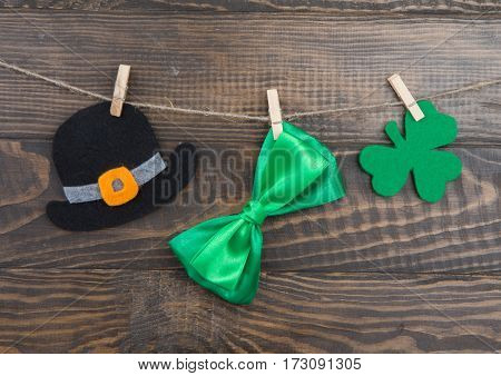 Handmade Decoration St. Patricks Day Hat, Bow, Clover Leaf