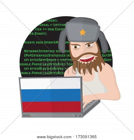 Russian hacker with laptop isolated on white background