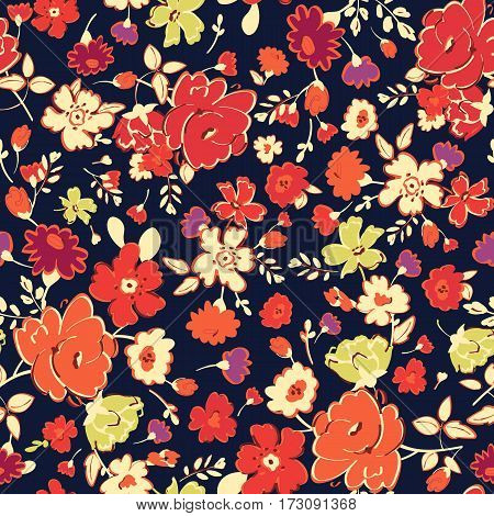 Abstract seamless pattern with isolated red yellow flowers on black background. Vector illustration.