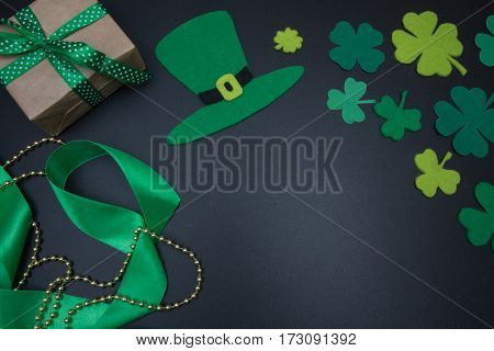 Irish Decorations For St. Patricks Day Clover Leaves On Blackboard