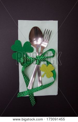 Tableware Fork And Spoon In St. Patrick's Day