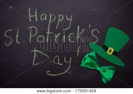 Hat, Bow Tie, Inscription Happy St. Patricks Day