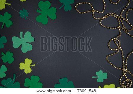 St. Patrick's Day Background Clover Leaves On Blackboard
