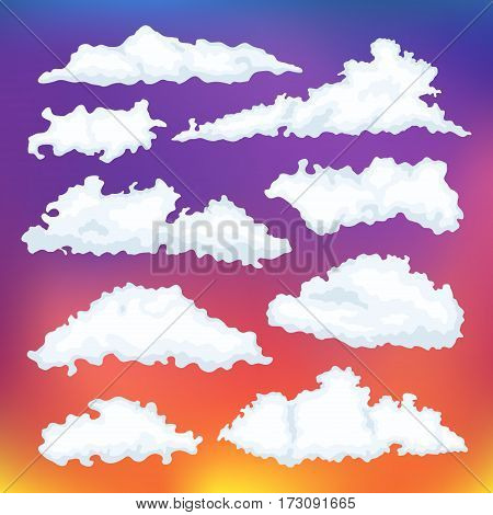 Cartoon cloud vector set. Clouds on a background of dawn