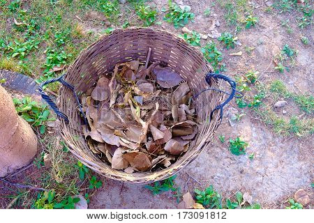 Weave Trash Basket, Dustbin Made From Bamboo Weaving On Grass Field.