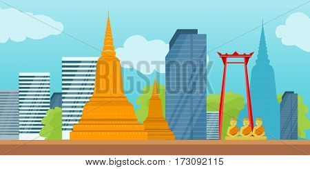 Bangkok detailed silhouette banner. Wat Arun and the Giant Swing, skyscraper buildings, stylish colorful landmarks. Buddha, Buddhism. Symbol of Thailand. Part of series of world travelling. Vector