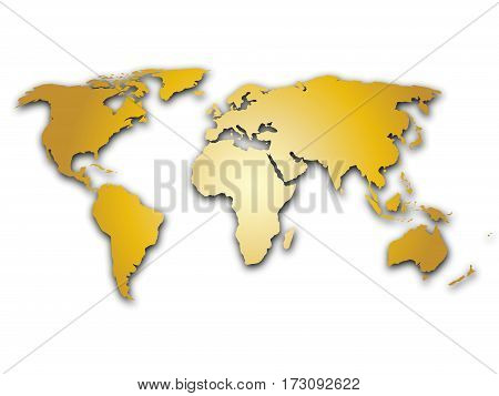 Golden world map silhoutte. Metal like design with shadow on white background.