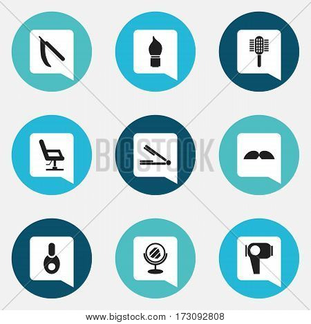 Set Of 9 Editable Barber Icons. Includes Symbols Such As Take The Hair Dryer, Elbow Chair, Peeper And More. Can Be Used For Web, Mobile, UI And Infographic Design.