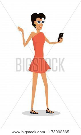 Woman on vacation with mobile device isolated on white. Lady makes selfie on the rest. Girl taking pictures on smartphone. Holiday concept. Happy tourist on journey. Vector illustration in flat style.