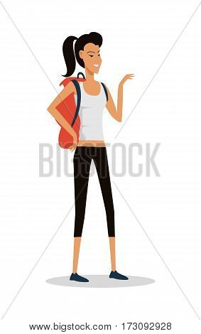 Smiling young girl in shorts, with backpack full of supplies, ready for trip isolated on white. Hiking with backpack illustration. Hiking woman logo icon. Summer vacation in road concept. Vector