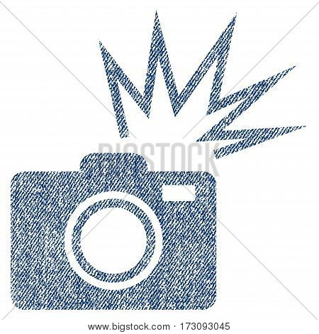 Camera Flash vector textured icon for overlay watermark stamps. Blue jeans fabric vectorized texture. Symbol with dust design. Blue ink rubber seal stamp with fiber textile structure.