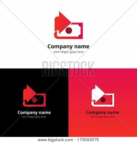 Money, finance, transfer converter logo design. Creative symbol template for banking or investment business with trend red-pink gradient color. Dollar with arrow icon design.