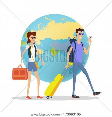 People on vacation concept. Young couple in sunglasses with backpacks, suitcases walking around word globe flat vector illustration on white background. Round the world journey. For travel company ad